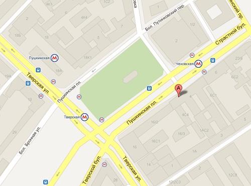 Офис в Москве: Страстной Бульвар д.4, с.1, подъезд 8, домофон 68 (2 этаж).  Схема проезда.